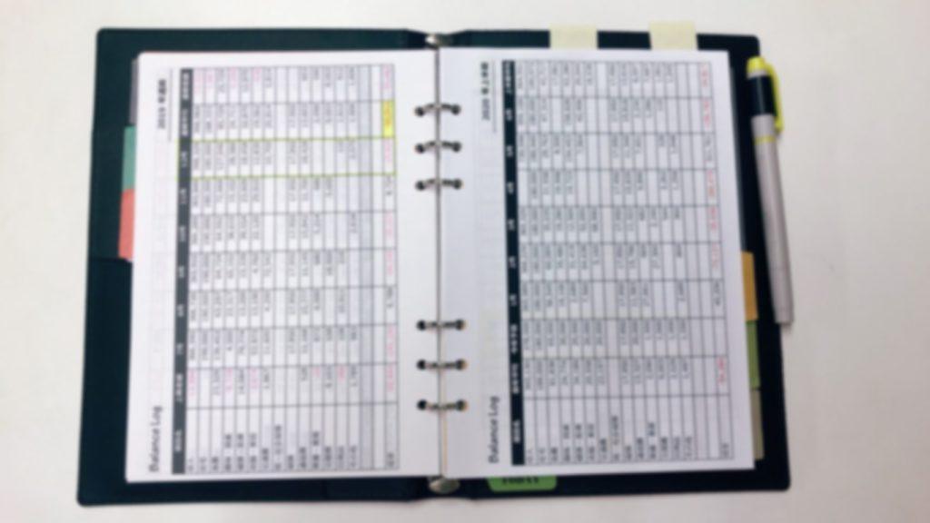 手帳リフィール 収支ログ